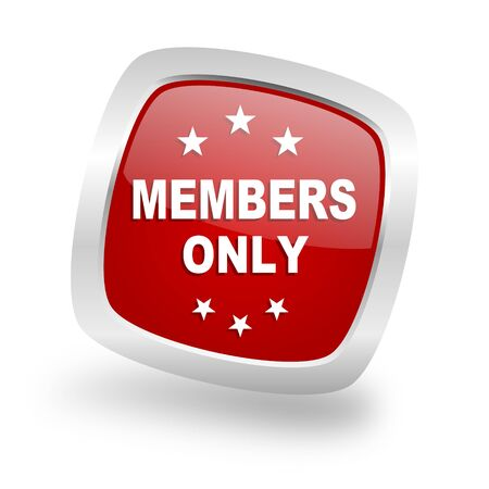 members only: members only square glossy red chrome silver metallic web icon