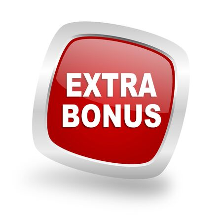discounting: extra bonus square glossy red chrome silver metallic web icon