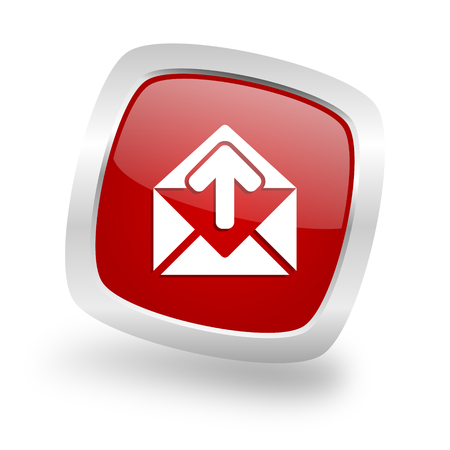 email square glossy red chrome silver metallic web icon