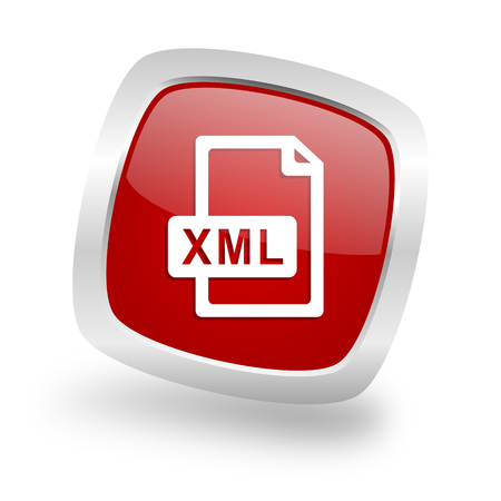 xml: xml file square glossy red chrome silver metallic web icon Stock Photo