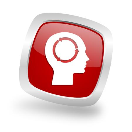 head square glossy red chrome silver metallic web icon Stock Photo