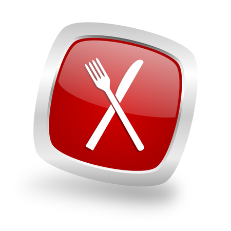restaurant square glossy red chrome silver metallic web icon