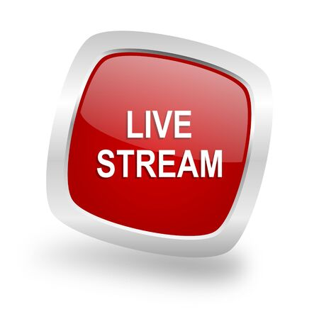 live stream: live stream square glossy red chrome silver metallic web icon