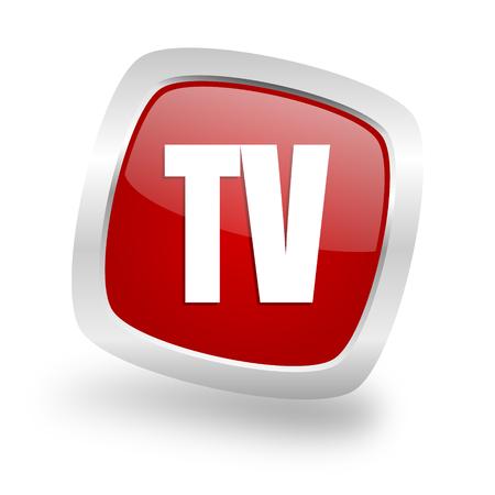 tv square glossy red chrome silver metallic web icon Stock Photo