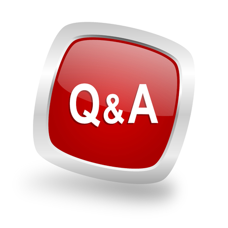 question and answer: question answer square glossy red chrome silver metallic web icon