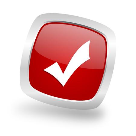 yea: accept square glossy red chrome silver metallic web icon