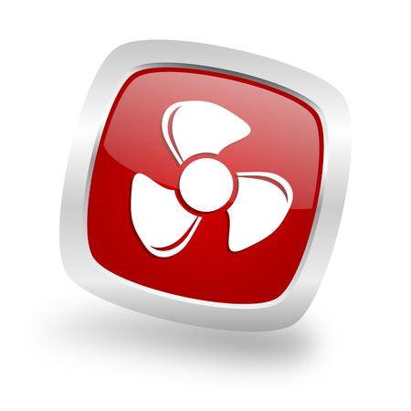 fan square glossy red chrome silver metallic web icon