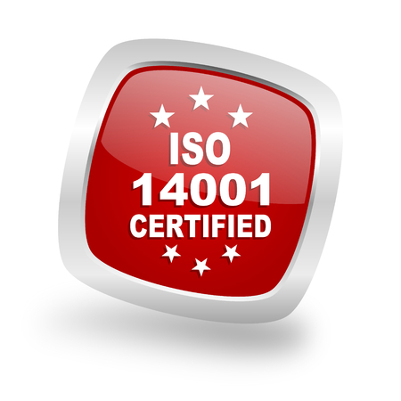 standard steel: iso 14001 square glossy red chrome silver metallic web icon Stock Photo