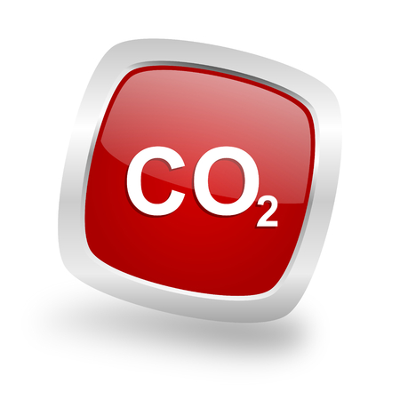 carbon dioxide: carbon dioxide square glossy red chrome silver metallic web icon
