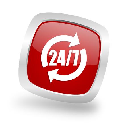 silver service: service square glossy red chrome silver metallic web icon