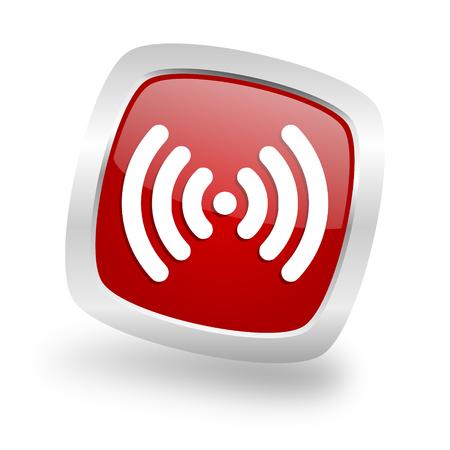 wifi square glossy red chrome silver metallic web icon Stock Photo