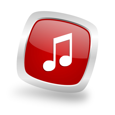 music square glossy red chrome silver metallic web icon