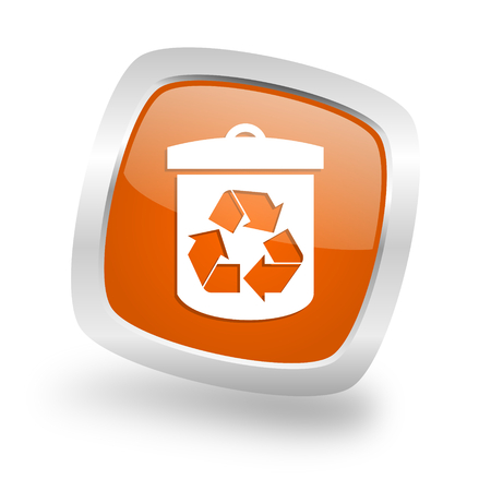 recycle square glossy orange chrome silver metallic web icon
