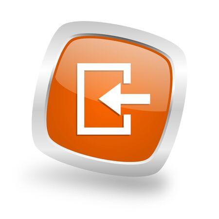 enter square glossy orange chrome silver metallic web icon Stock Photo