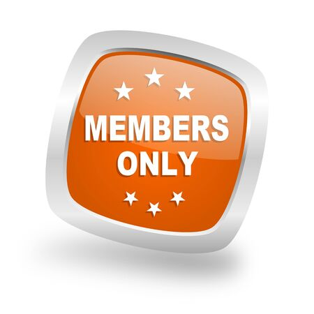 members only: members only square glossy orange chrome silver metallic web icon