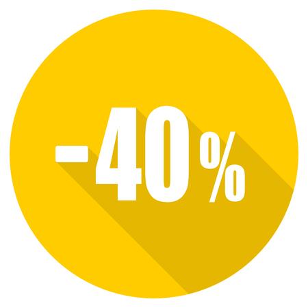 40 percent sale retail flat design yellow round web icon