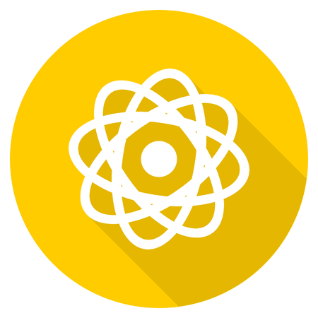 gamma radiation: atom flat design yellow round web icon