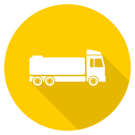 truck flat design yellow round web icon Stock Photo
