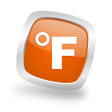 fahrenheit: fahrenheit square glossy orange chrome silver metallic web icon