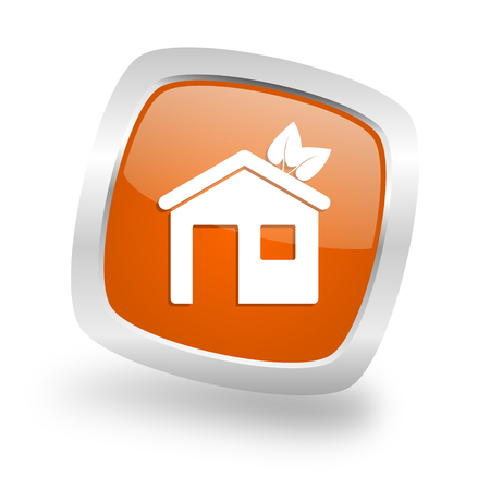 in the suburbs: house square glossy orange chrome silver metallic web icon