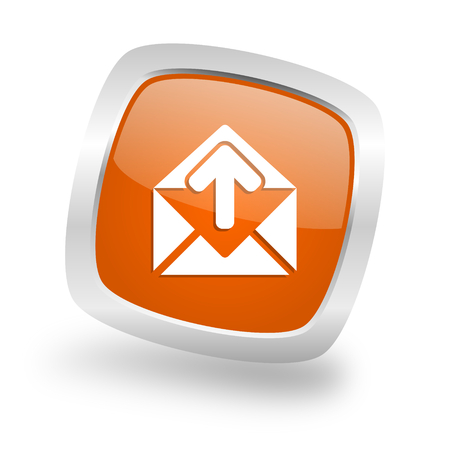 email square glossy orange chrome silver metallic web icon Stock Photo
