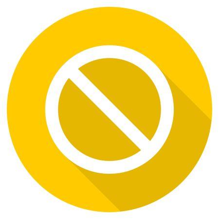access denied flat design yellow round web icon Stock Photo