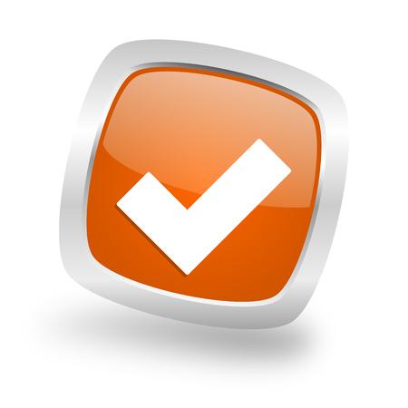 accept square glossy orange chrome silver metallic web icon