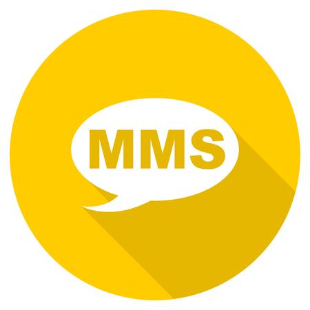 mms icon: mms flat design yellow round web icon