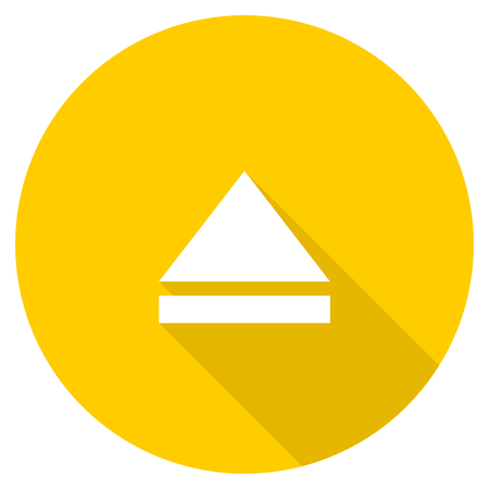 eject icon: eject flat design yellow round web icon