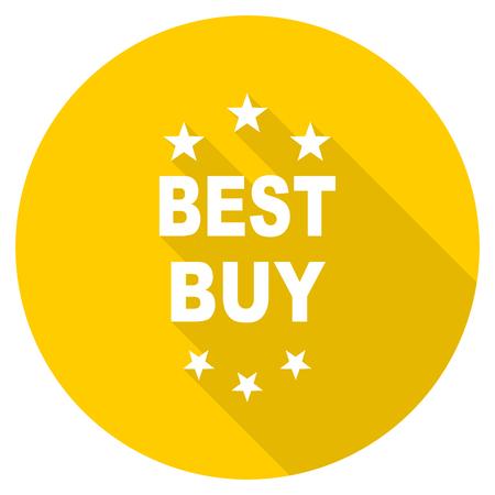 best buy: best buy flat design yellow round web icon