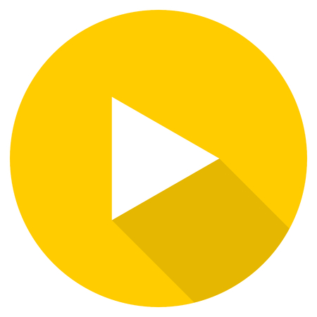 eject icon: play flat design yellow round web icon