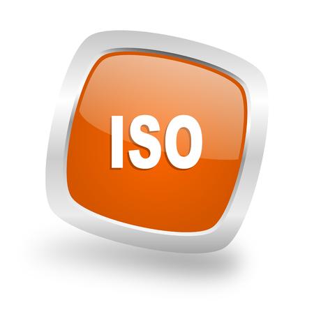 standard steel: iso square glossy orange chrome silver metallic web icon Stock Photo
