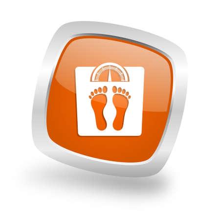 weight square glossy orange chrome silver metallic web icon