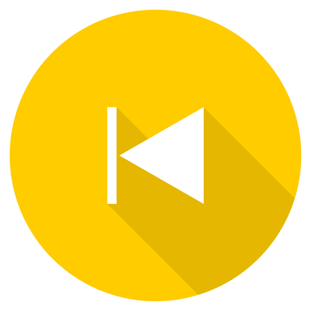 eject icon: prev flat design yellow round web icon