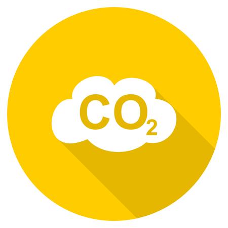 dioxido de carbono: el dióxido de carbono diseño plano amarillo redondo del icono del Web