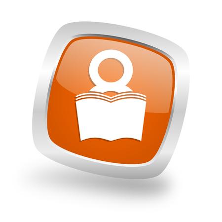 book square glossy orange chrome silver metallic web icon