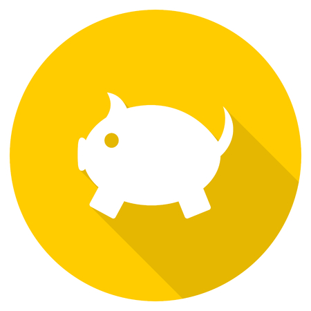 piggy bank flat design yellow round web icon