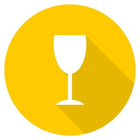 champain: alcohol  flat design yellow round web icon