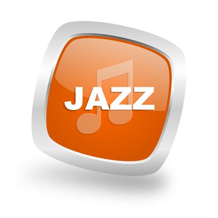 live stream sign: jazz music square glossy orange chrome silver metallic web icon Stock Photo