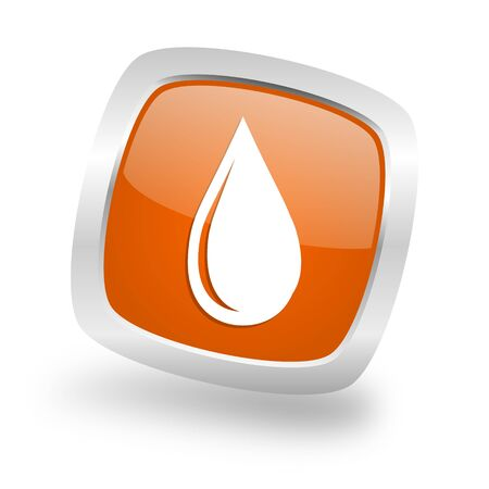 water drop square glossy orange chrome silver metallic web icon Stock Photo