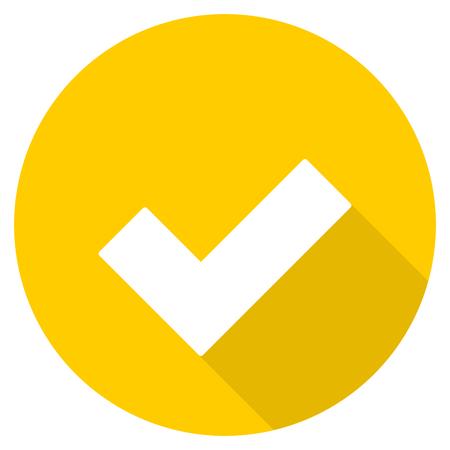 accept flat design yellow round web icon Stock Photo