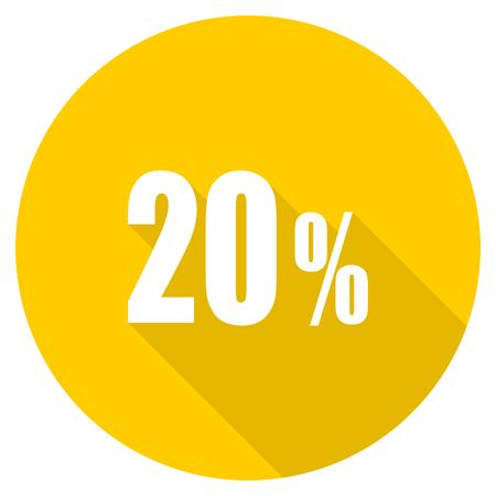 20 percent flat design yellow round web icon