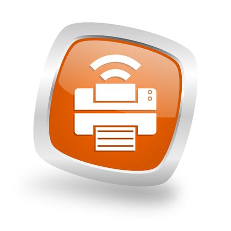 printer square glossy orange chrome silver metallic web icon Stock Photo
