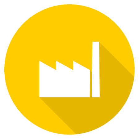 factory flat design yellow round web icon