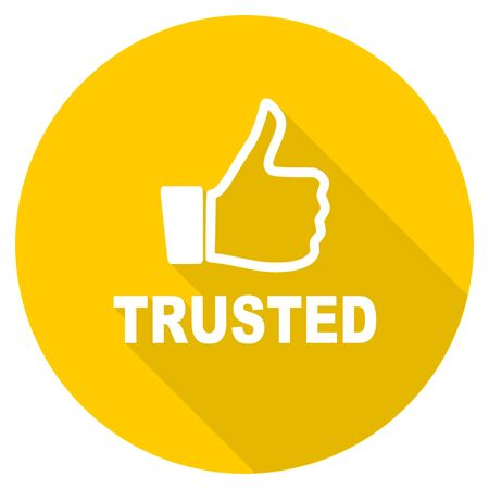trusted: trusted flat design yellow round web icon