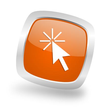 click here square glossy orange chrome silver metallic web icon