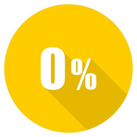 0 percent flat design yellow round web icon
