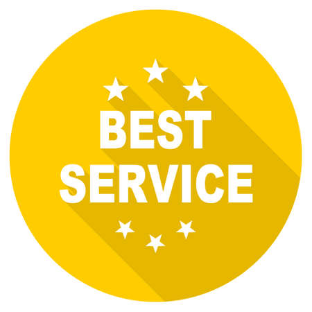 best service: best service flat design yellow round web icon