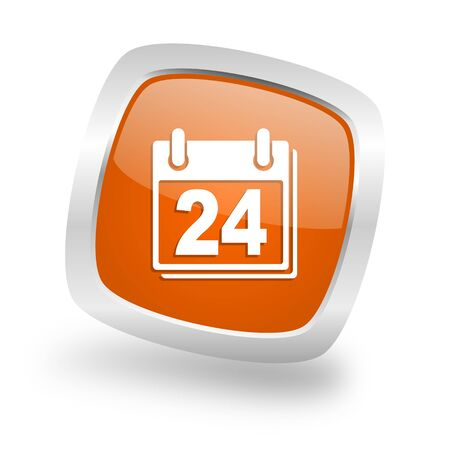 calendar square glossy orange chrome silver metallic web icon