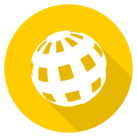 yellow earth: earth flat design yellow round web icon